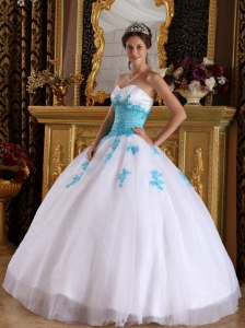 White and Blue Quinceanera Dress Sweetheart Appliques