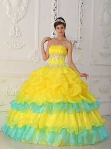 Ball Gown Yellow Strapless Organza Beading and Ruffles