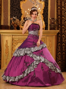 Embroidery Dark purple Strapless Taffeta Quinceanera Dress
