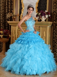 One Shoulder Embroidery Beaded Quinceanera Dress Aqua Blue