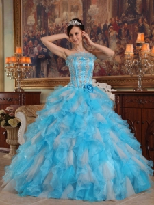 Aqua Blue Appliques Ruffles Quinceanera Dress Strapless