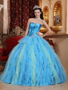 Tulle Aqua Blue Quinceanera Gown Sweetheart Beading