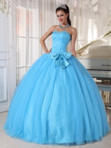 Bowknot Aqua Blue Ball Gown Sweetheart Tulle Beading