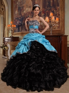 Sweetheart Aqua Blue and Black Quinceanera Dress Pick-ups