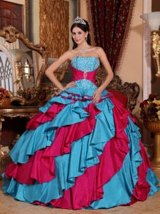 Ball Gown Aqua Blue and Red Strapless Taffeta Embroidery