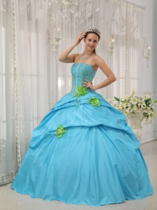 Beading Hand Flowers Aqua Blue Quinceanera Dress Strapless