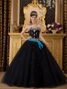 Appliques Quinceanera Gown Beaded Black and Blue