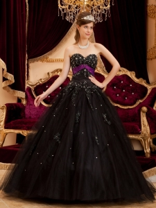 Tulle Appliques Quinceanera Gown Dress Black Sweetheart