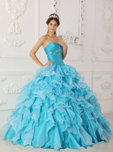 Baby Blue Beading Quinceanera Dress Princess Ruffed