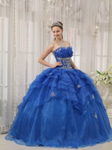 Blue Strapless Ruffles Organza Beading Quinceanera Dress