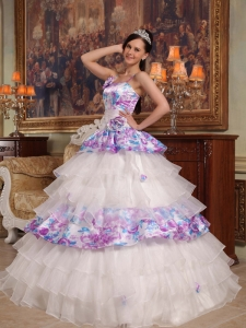 Printing Quinceanera Dress Ball Gown Straps Hand Flowers