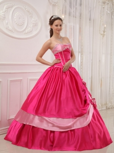 Sweetheart Hot Pink Appliques Beading Quinceanera Gown