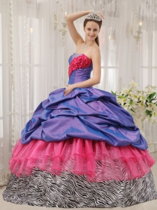 Ball Gown Beading Zebra Quinceanera Dress Multi-colored