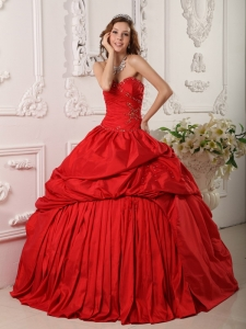 Ball Gown Sweetheart Ruffles Beading Taffeta Red