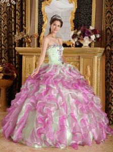 Sweetheart Appliques Multi-color Quinceanera Dress Ruffled