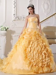 Chapel Train Gold Quinceanera Dress Beading Pick-ups