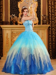 Ball Gown Sweetheart Beading Satin and Organza Blue