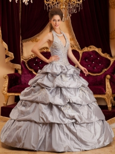 Halter Taffeta Appliques Gray Quinceanera Dress Pick-ups