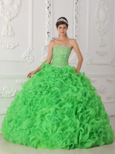 Ball Gown Spring Green Beaded Quinceanera Dress Ruffled