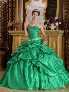 Quinceanera Dress Green Ball Gown Strapless Beading