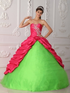 Green and Hot pink Appliques Ruch Quinceanera Dress