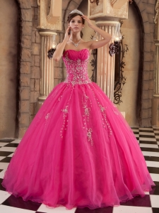 Floor-length Hot Pink Quinceanera Dress Organza Beading