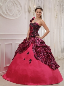 Quinceanera Dress One Shoulder Zebra or Leopard Appliques