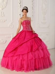 Ball Gown Strapless Beading Hot Pink Sweet 15 Dress