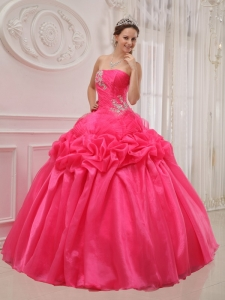 Ruch Beading Quinceanera Gown Dress Hot Pink Strapless