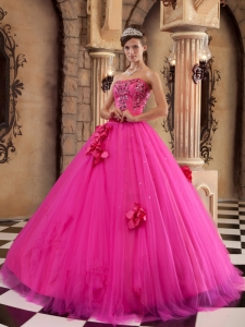 A-line Quinceanera Dress Hot Pink Beaded Hand Flowers