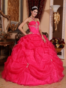 Quinceanera Dress Sweetheart Beaded Coral Red Pick-ups