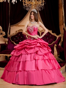 Hot Pink Sweetheart Quinceanera Dress Taffeta Appliques