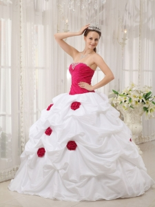 Hot Pink and White Handle Flower Quinceanera Dresses