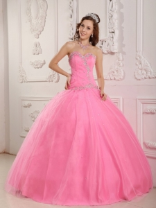 Lovely Sweetheart Appliques Rose Pink Quinceanera Dress