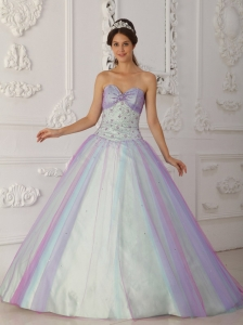 Multi-Color Sweetheart Taffeta Beading Sequins Quinceranera Dress
