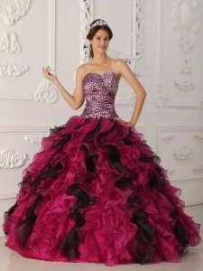 Leopard Ruffles Quinceanera Dress Multi-color Sweetheart