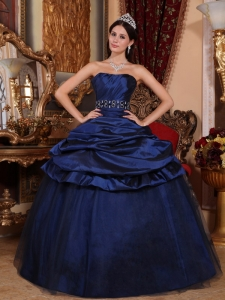 Beading Royal Blue Quinceanera Dress Tulle Taffeta