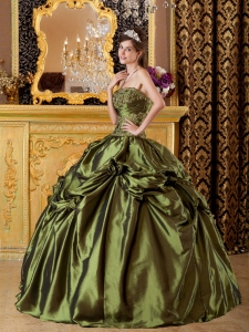 Olive Green Quinceanera Dress Ruffles Strapless Taffeta Appliques