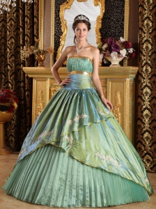 Olive Green Ball Gown Appliques Quinceanera Dress Ruched