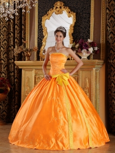 Orange Strapless Satin Embroidery Quinceanera Ball Gown