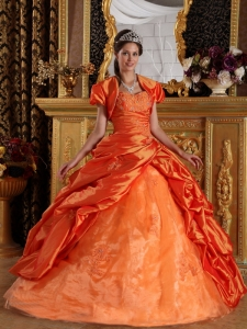 Taffeta Quinceanera Dress Orange Red Ball Gown Appliques