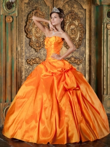 Appliques Orange Quinceanera Dress Sweetheart Taffeta