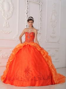 Sweetheart Orange Red Quinceanera Dress Beading Appliques