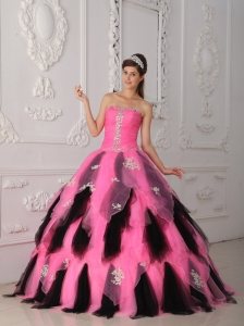 Princess Pink and Black Quinceanera Dress Appliques