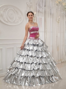 A-line Strapless Quinceanera Beaded Dress Multi-colored