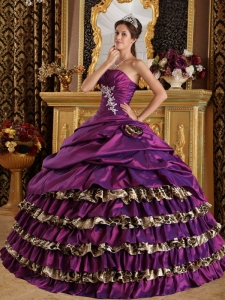 Leopard Quinceanera Dress Colorful One Shoulder Appliques
