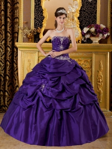 Appliques Purple Quinceanera Dress Ball Gown Strapless