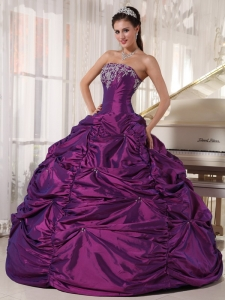 Purple Quinceanera Dress Strapless Taffeta Embroidery
