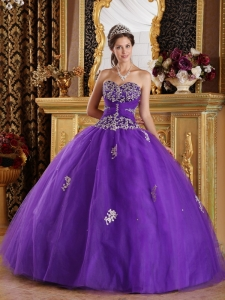 Purple Quinceanera Gown Sweetheart Appliques Tulle