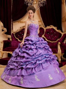Appliques Quinceanera Dress Purple Sweetheart Pick-ups